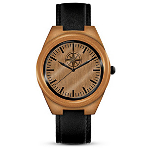 """""""Always My Son"""" Wooden Men's Watch With Compass Dial Design"""