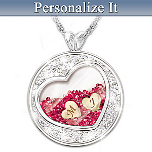 Personalized Pendant Necklace With 365 Floating Crystals