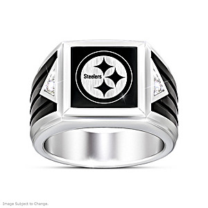 Pittsburgh Steelers Diamond Ring With Laser-Etched Logo