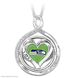 """""""My Heart Flips For The Seahawks"""" 2-In-1 Flip Necklace"""