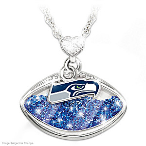 """Seahawks Pride"" Floating Crystal Pendant Necklace"