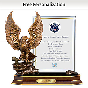 """Coast Guard Honor"" Eagle Sculpture With Personalized Plaque"