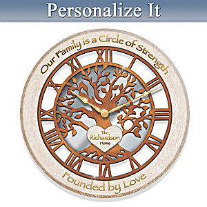 """Rooted In Family"" Openwork Tree Personalized Wall Clock"