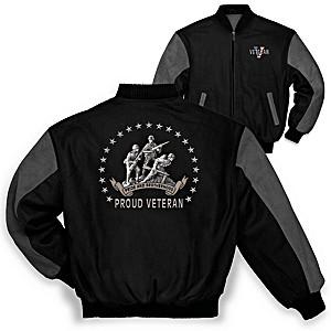 """Veteran Pride And Brotherhood"" Men's Varsity Twill Jacket"