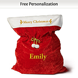 Oversized Personalized Plush Santa Christmas Gift Bag