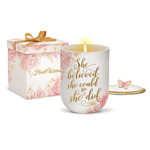 """""""She Believed She Could So She Did"""" Porcelain Candleholder"""