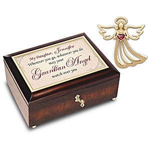 Guardian Angel Pin And Personalized Music Box For Daughters