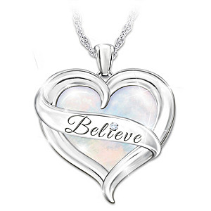 """Believe in Yourself"" Mother Of Pearl And Diamond Necklace"