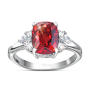 """Rare Wonder"" Red Helenite And White Topaz Women's Ring"