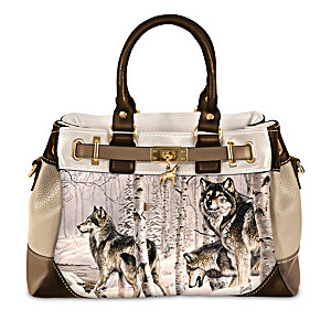 Spirit Of The Forest Fashion Handbag With Al Agnew Wolf Art