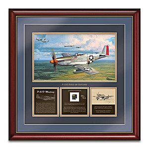 Robert Taylor Framed P-51D Mustang Artwork With Artifact