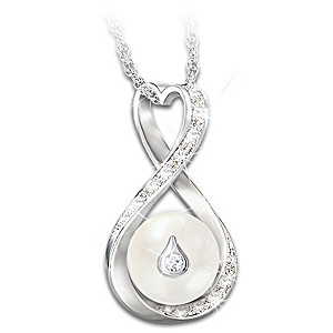 """Forever Loved"" Cultured Pearl And Diamond Pendant Necklace"