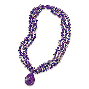 Natural Beauty Purple Turquoise Necklace With Over 200 Beads