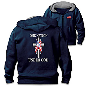 """One Nation Under God"" Patriotic Cotton-Blend Knit Hoodie"