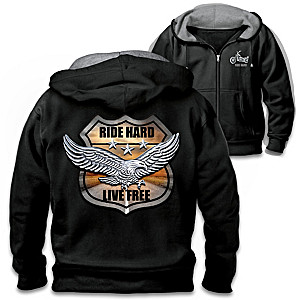 """""""Ride Hard On The Open Road"""" Hoodie With Biker Art And Motto"""