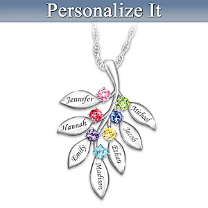 """Our Family Grows Together"" Personalized Birthstone Necklace"