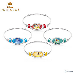 "Disney Princess ""Be Strong And True"" Engraved Bracelet Set"