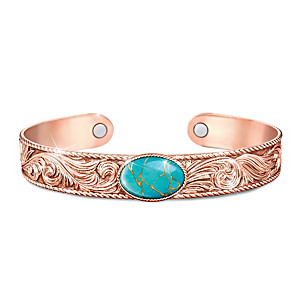 """Strength Of Nature"" Copper Cuff Bracelet With Turquoise"