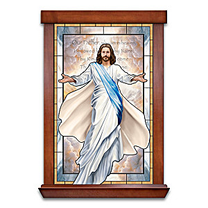 Glowing Grace Illuminated Stained Glass Wall Decor