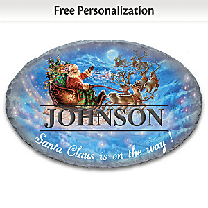 Dona Gelsinger Santa In His Sleigh Personalized Welcome Sign