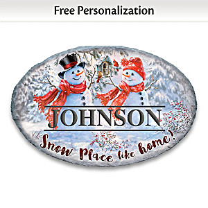 Snowman Personalized Holiday Outdoor Welcome Sign With Name