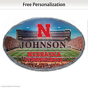 Cornhuskers Outdoor Welcome Sign Personalized With Name