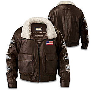 """America's Legendary Tanks Of WWII"" Leather Bomber Jacket"