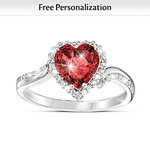 """The Heart Of You"" Personalized Crystal Birthstone Ring"
