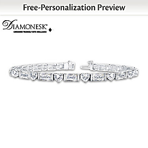 """My Precious Family"" Name-Engraved Diamonesk Bracelet"