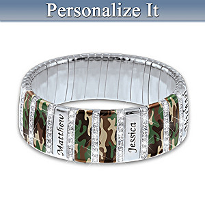 Camo Family Bracelet With Up To 6 Engraved Names
