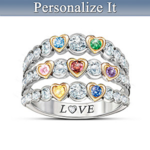 """Family Is Love"" Birthstone Ring With Personalized Card"