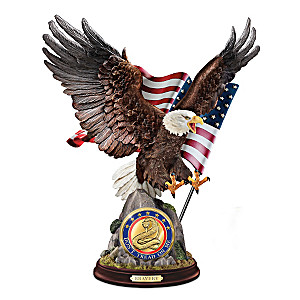 """Bravery"" Eagle Sculpture With Removable Challenge Coin"