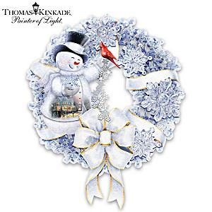 Thomas Kinkade Wreath With Lights And Crystalline Snowflakes