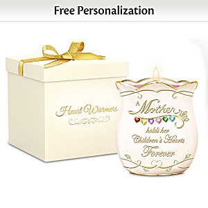 Personalized Glass Birthstone Porcelain Candleholder For Mom