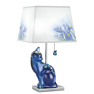 Hand Painted Pressed Glass Cat Lamp