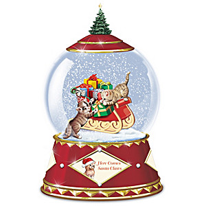 Here Comes Santa Claws Musical Snowglobe