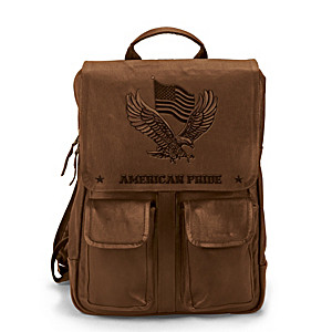 American Pride Genuine Leather Backpack With Embossed Eagle