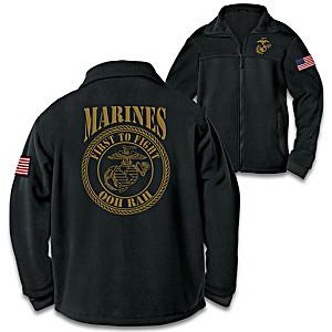 """USMC First To Fight"" Men's Fleece Jacket"