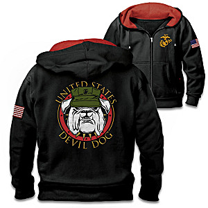"""Devil Dog"" Front-Zip Hoodie With Embroidered USMC Emblem"