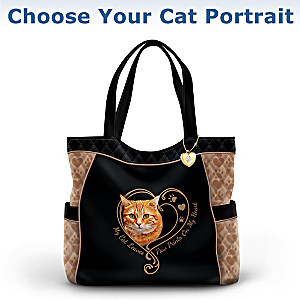 """Paw Prints On My Heart"" Tote Bag: Choose Your Cat Portrait"