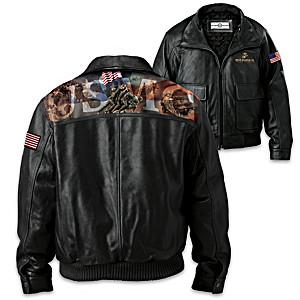 U.S. Marines Men's Leather Bomber Jacket