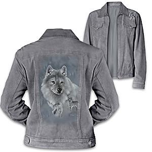 Faux Suede Women's Jacket With Eddie LePage Wolf Art