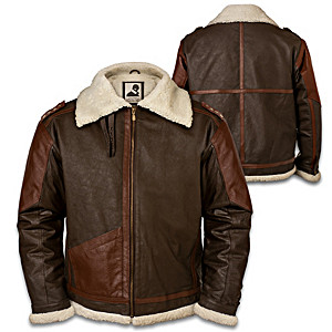 General George S. Patton Leather Jacket With Patriotic Patch