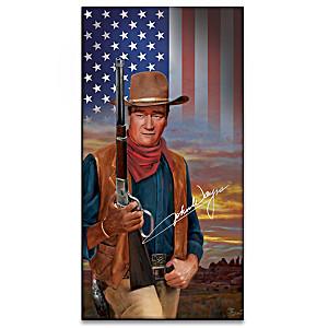 John Wayne Wall Decor With Illuminated American Flag