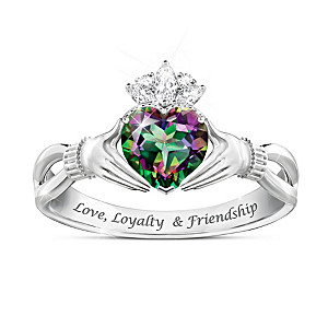 """Spirit Of Ireland"" Mystic Topaz Claddagh Ring"