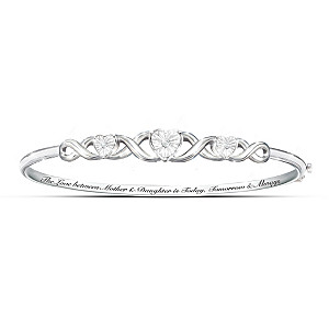 """Mother & Daughter, Love Always"" Diamond Bangle Bracelet"