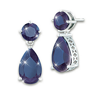 Women's Earrings With Over 16 Carats Of Genuine Sapphires