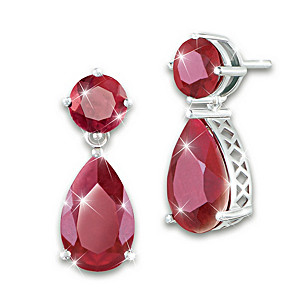 """Dazzling Star"" Women's Earrings With Genuine Rubies"