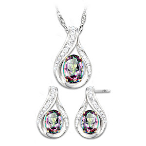 Necklace And Earrings Set With 3 Carats Of Mystic Topaz