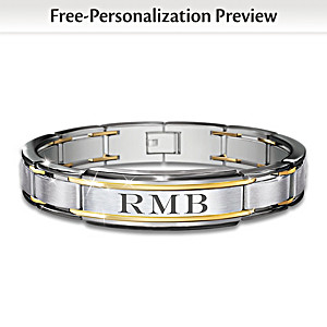 """The Strength Of My Grandson"" Personalized Men's Bracelet"